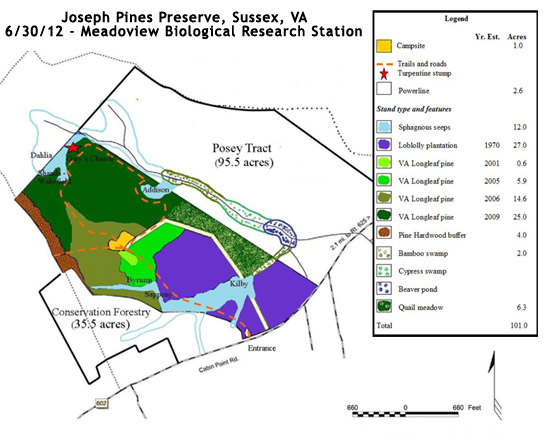 Jospeh Pines Preserve Map June 30, 2012